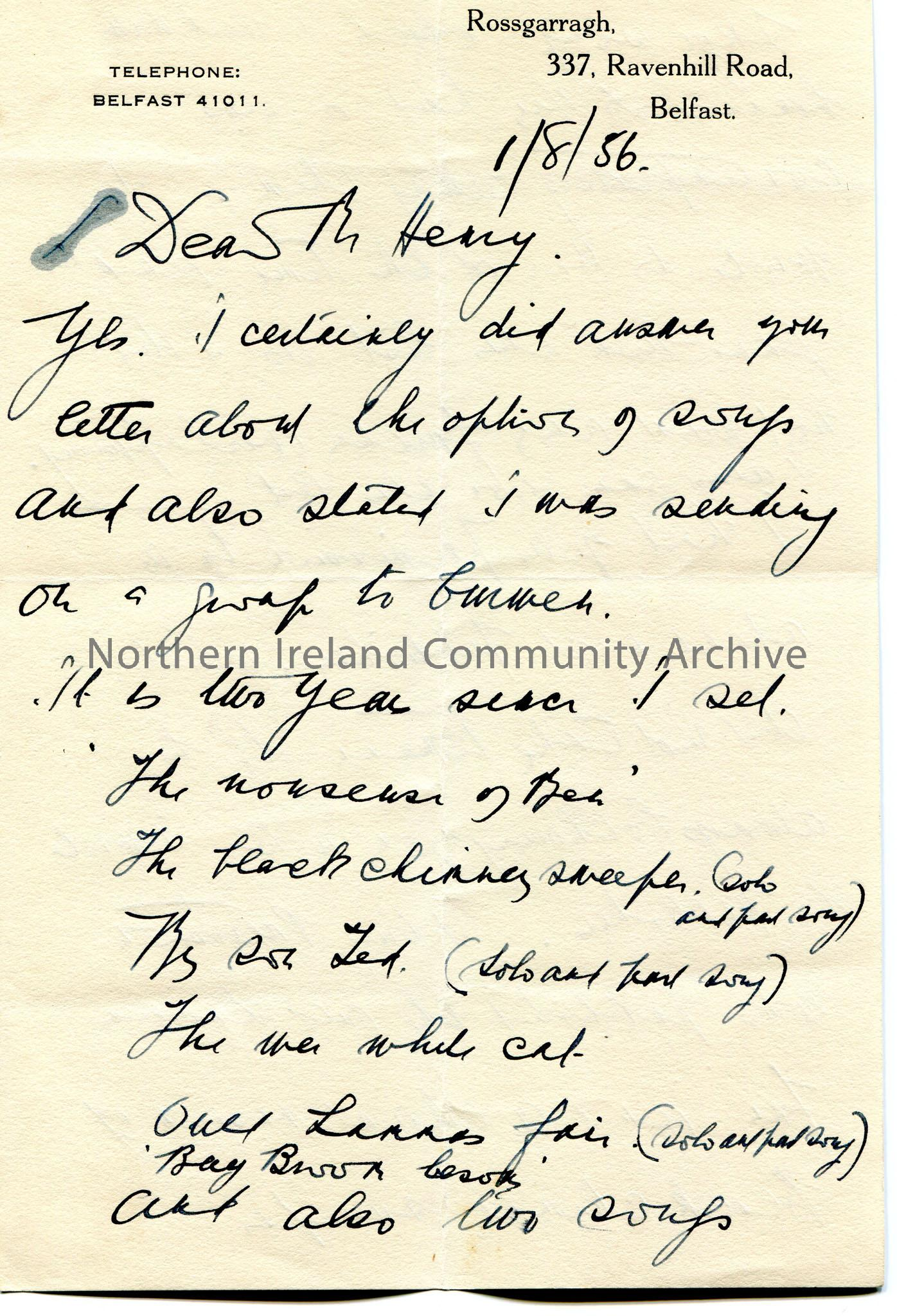 Page 1 of 5. Handwritten letter to Mr Henry. Appears to be contacting publishers re music arrangements of songs given by Sam. Recalls [Maurice] Jacobs…