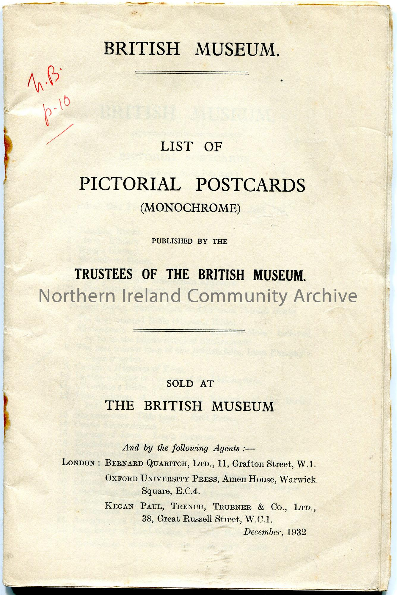 Printed and stapled booklet from the British Museum of a 'List of Pictorial Postcards' published by the Trustees of the British Museum. 'N.B. p.10' ha…