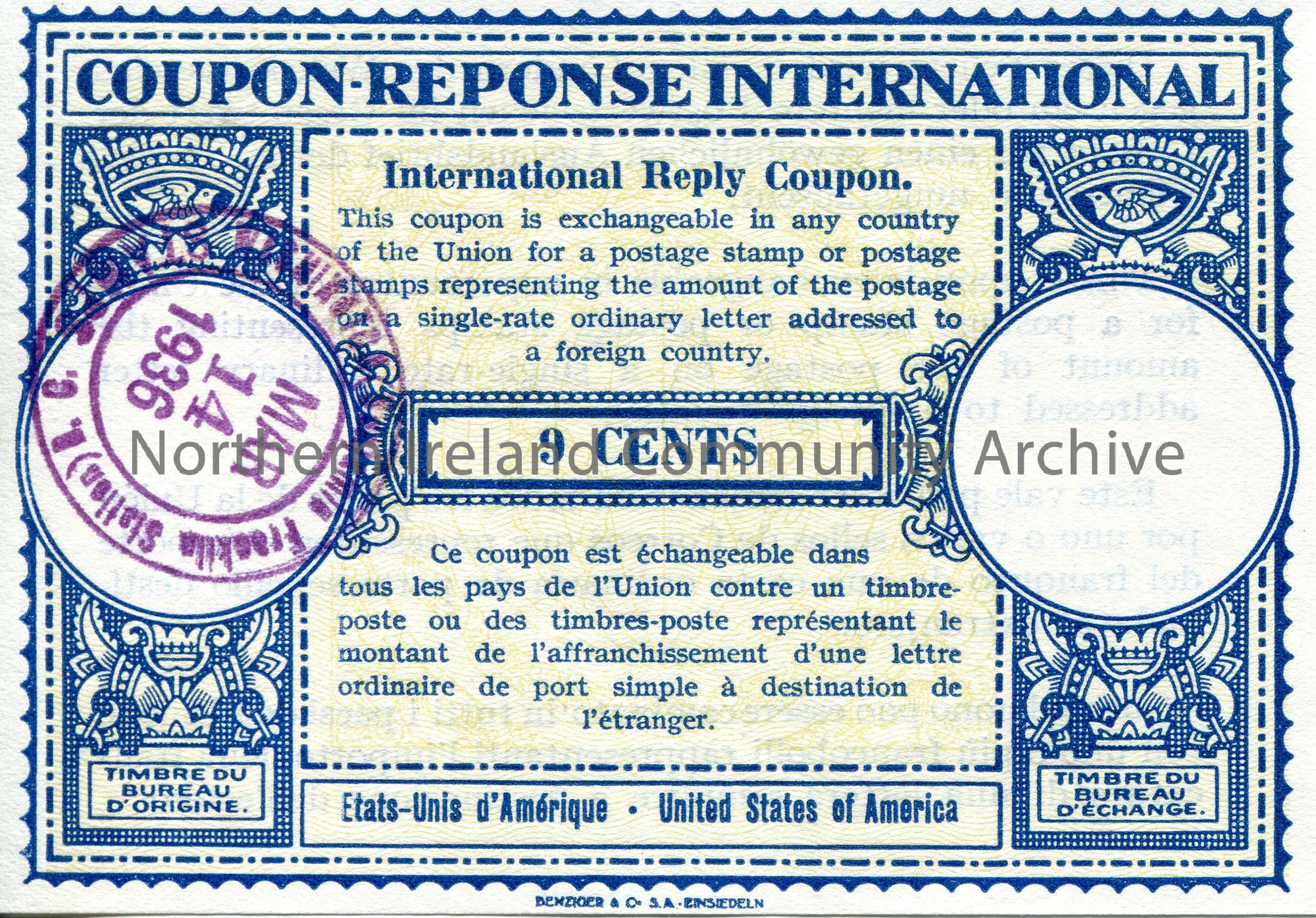 International Reply Coupon for the value of 9 cents. Date stamped 14th March, 1936. ' COUPON-RESPONSE INTERNATIONAL ' across top of certificate. For u…