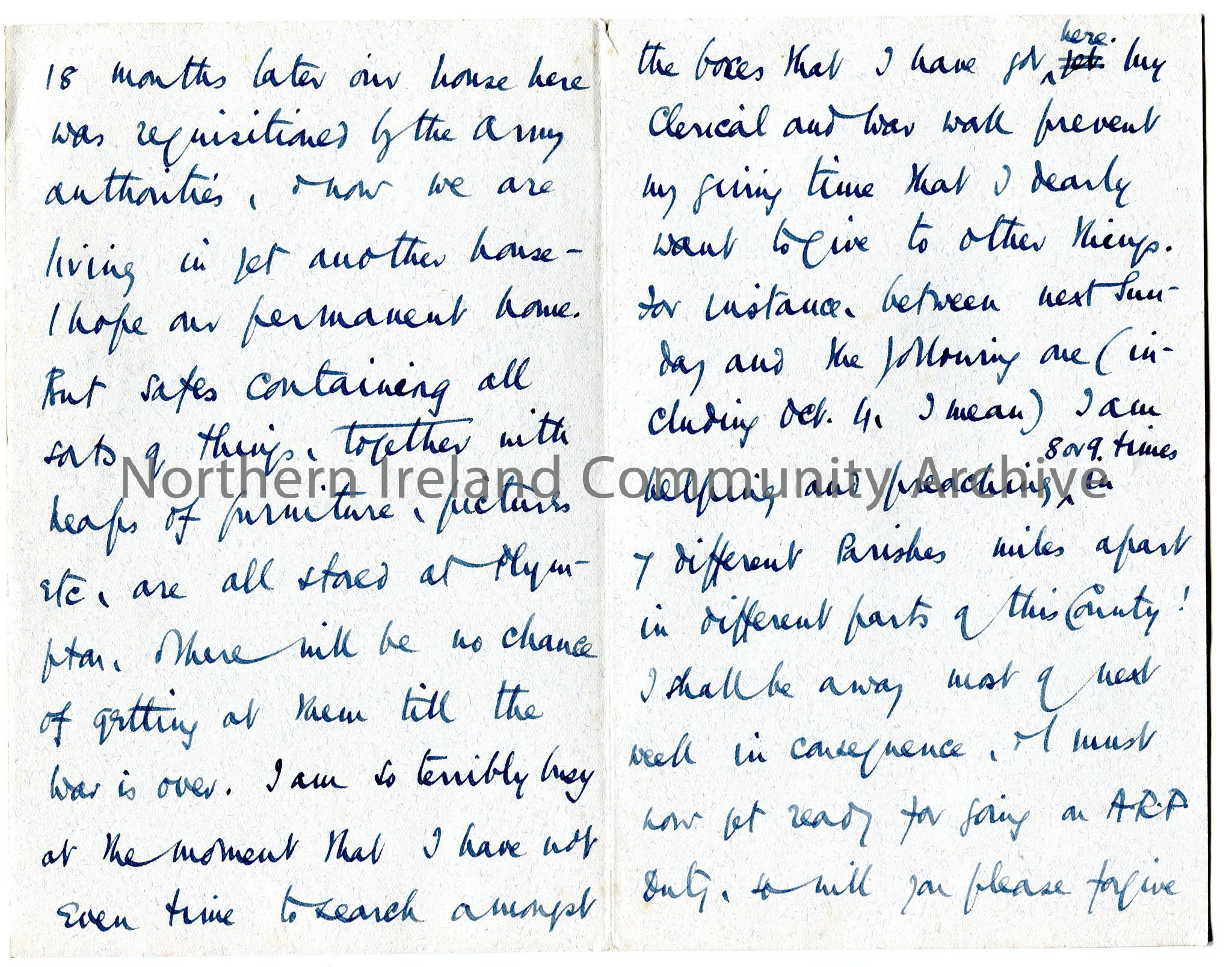 One page of 2 page handwritten letter re history of Ross family. Mentions having to move house several times during WWII. Wants Limavady Corporation r… – img481