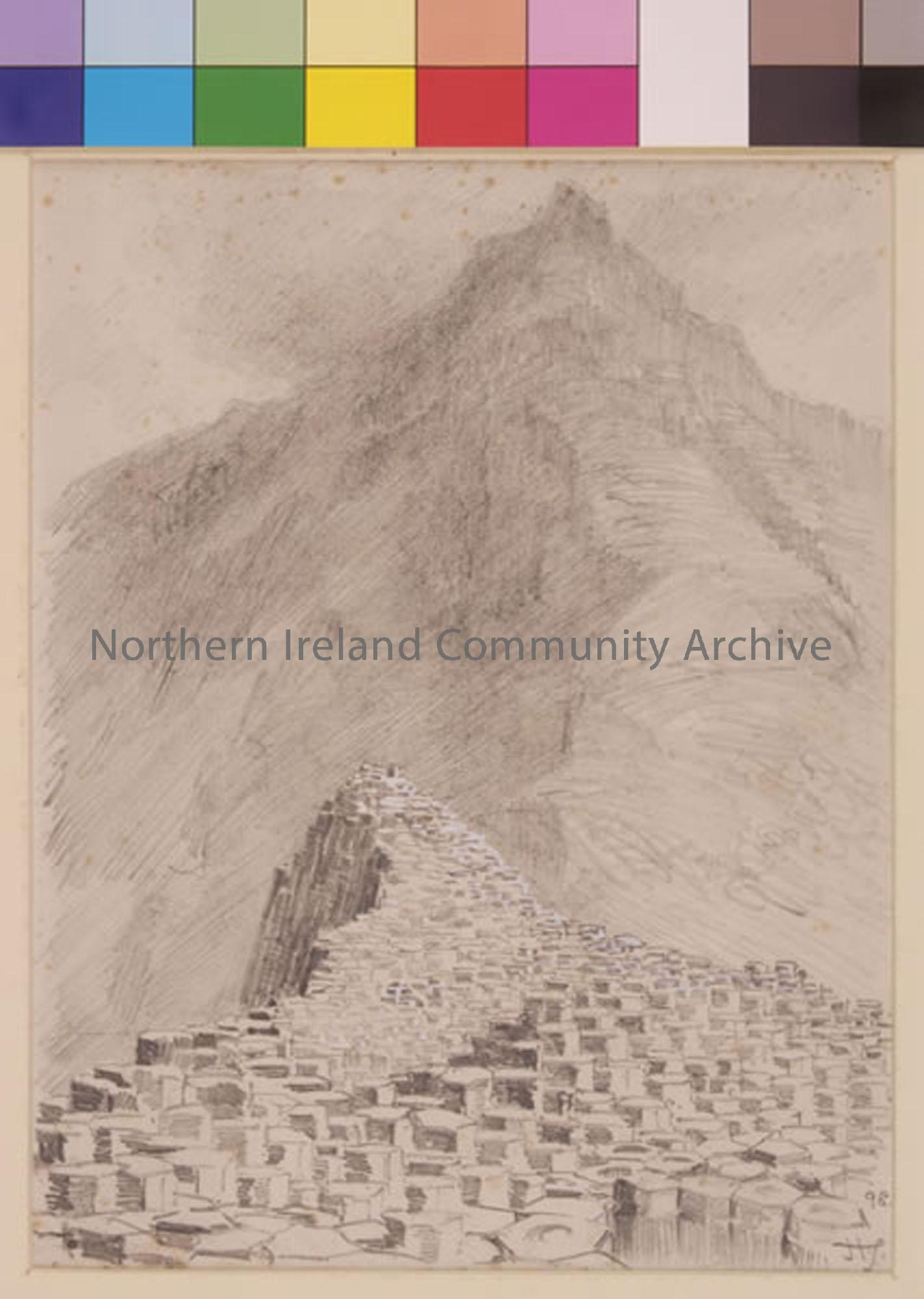 "pencil drawing of"" The Giant's Causeway by Hugh Thomson  (2541)"