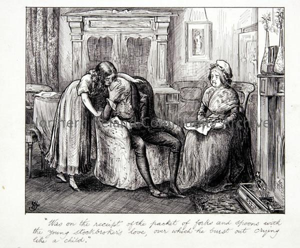 Pen and ink drawing by Hugh Thomson for Vanity Fair by William Makepeace Thackeray (4048)
