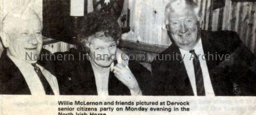 Willie McLernon and friends pictured at Dervock senior citizens party in the North Irish Horse (2876)