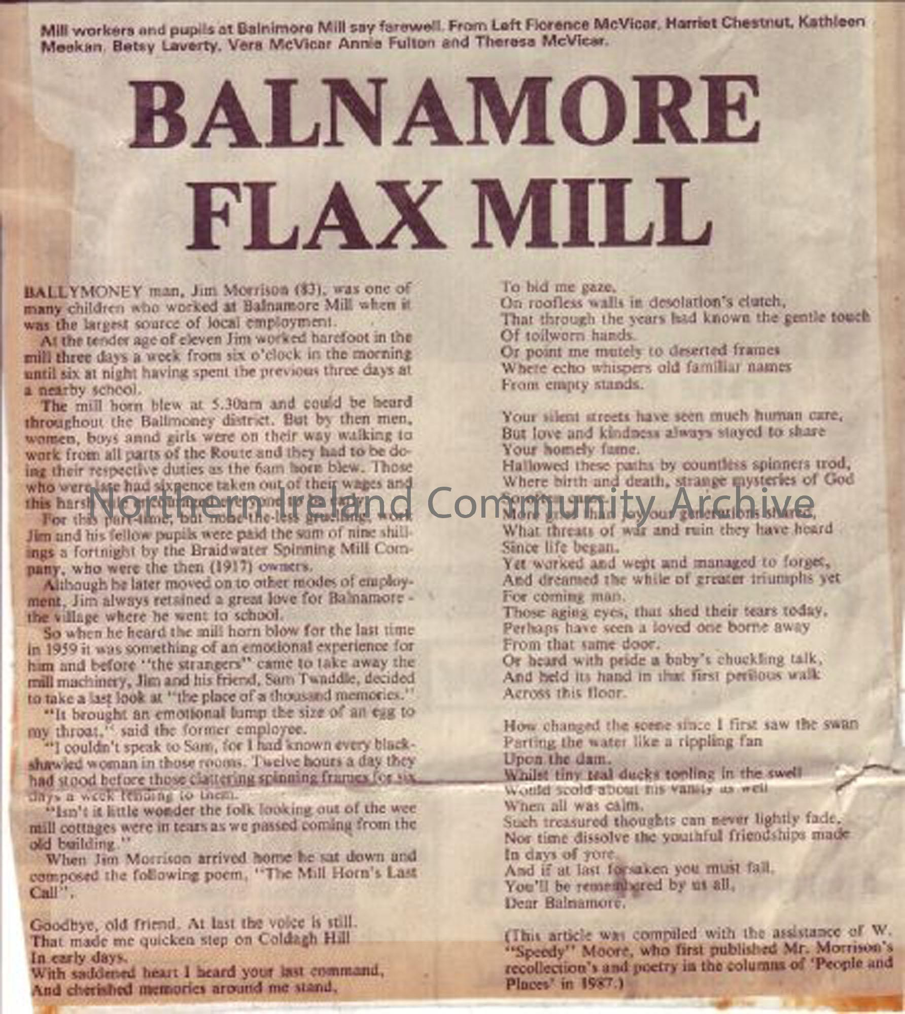Newspaper article about Balnamore Flax Mill (2207)