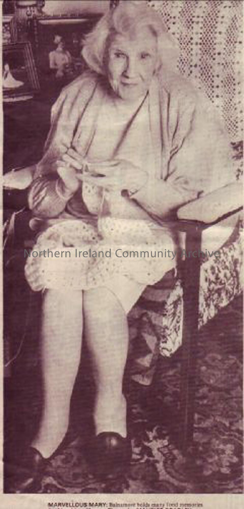 Mrs Mary Hunter in 1993. She started work at Balnamore Mill aged 14 and later became a maid at O'Hara Brook before leaving for work in Belfast.