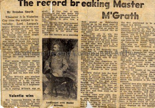 Newspaper article about the famous greyhound Master McGrath (6551)