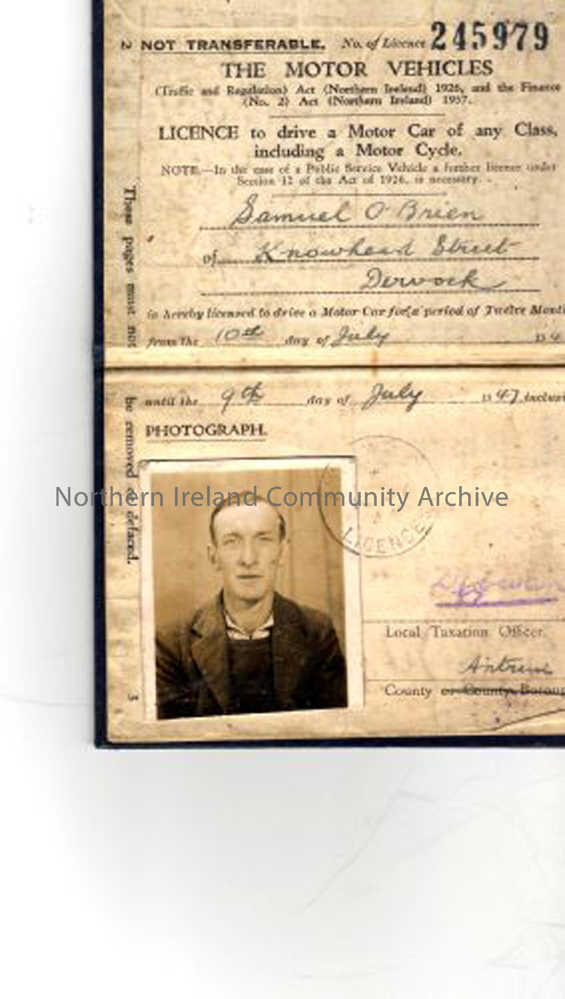 Sammy O'Brien, Knowhead Street, Dervock, driving licence. Sammy O'Brien was a regimental piper during the war. He later, at the behest of Dervock Lodge, started the village's pipe band. (5463)