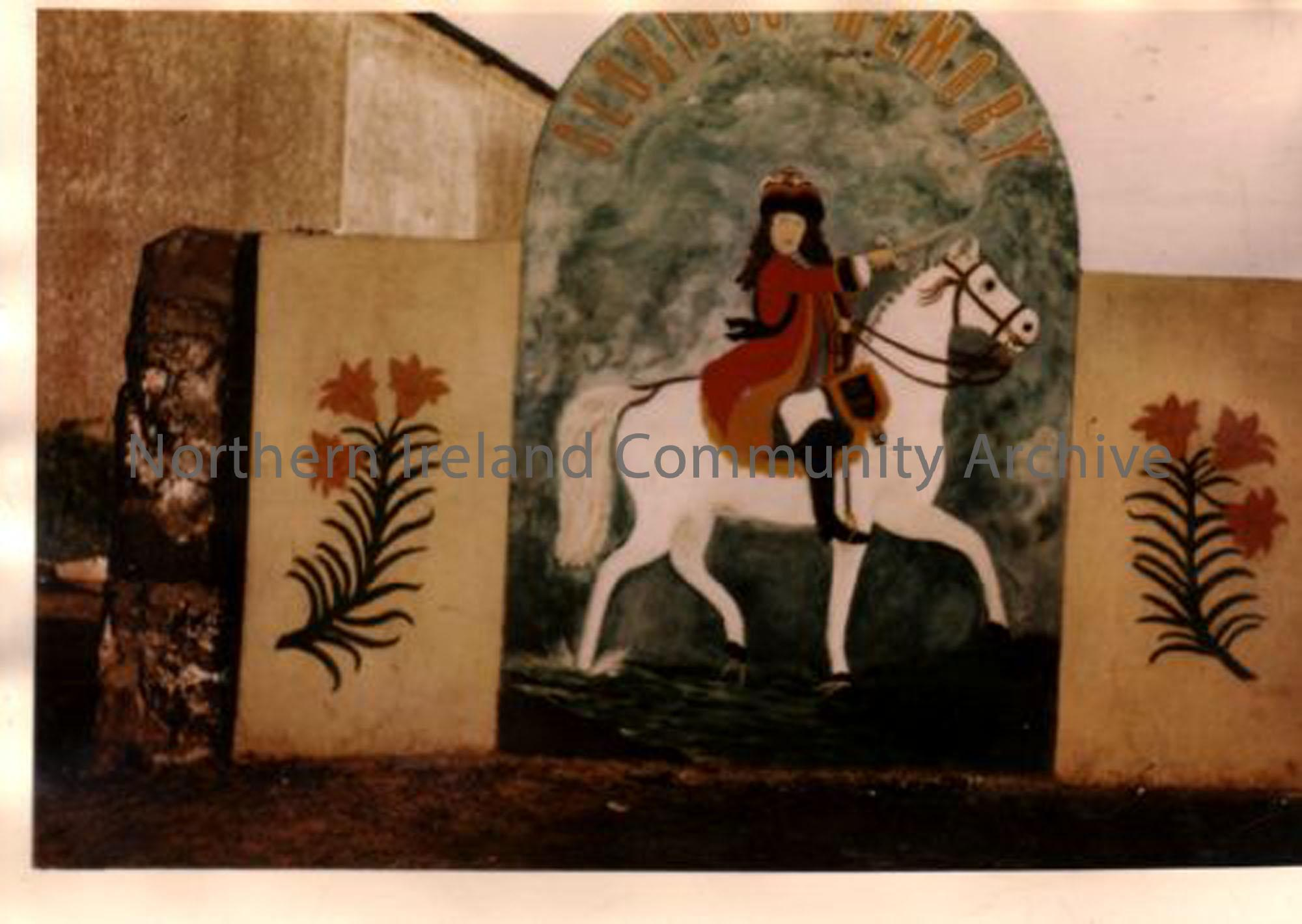 Mural of King William of Orange, created by Sandy Johnston. The lillies were painted by his daughter Molly. (2928)