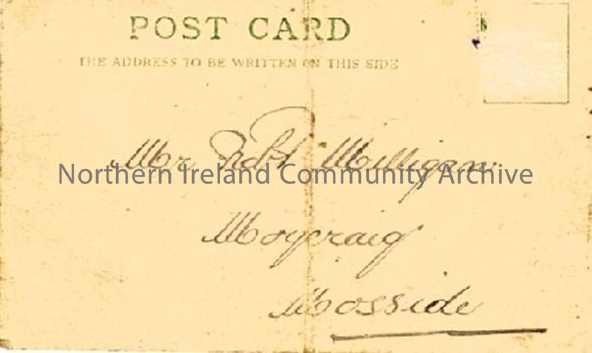 Postcard addressed to Robert Mulligan, Moycraig, Mosside (6659)