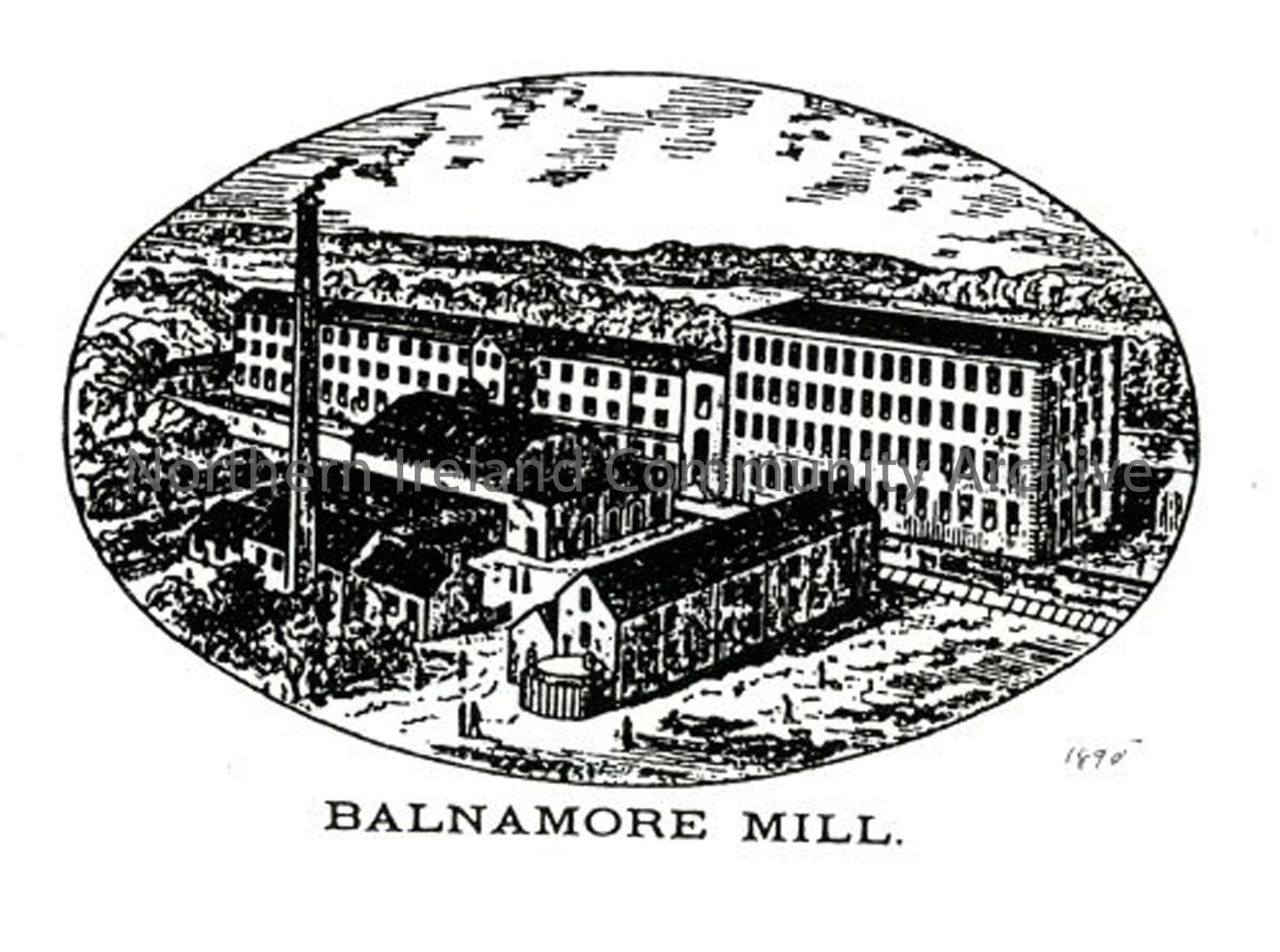 Illustration of Balnamore Mill from Bassett's Tour of Ireland 1888. Note the top storey and peaked roof of the new mill have not yet been added and the old mill still has three storeys. (5478)