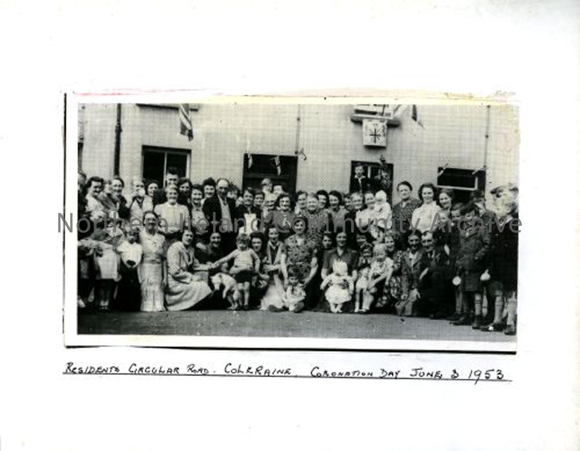 Residents of Circular Road, Coleraine, Coronation Day, 3rd June 1953