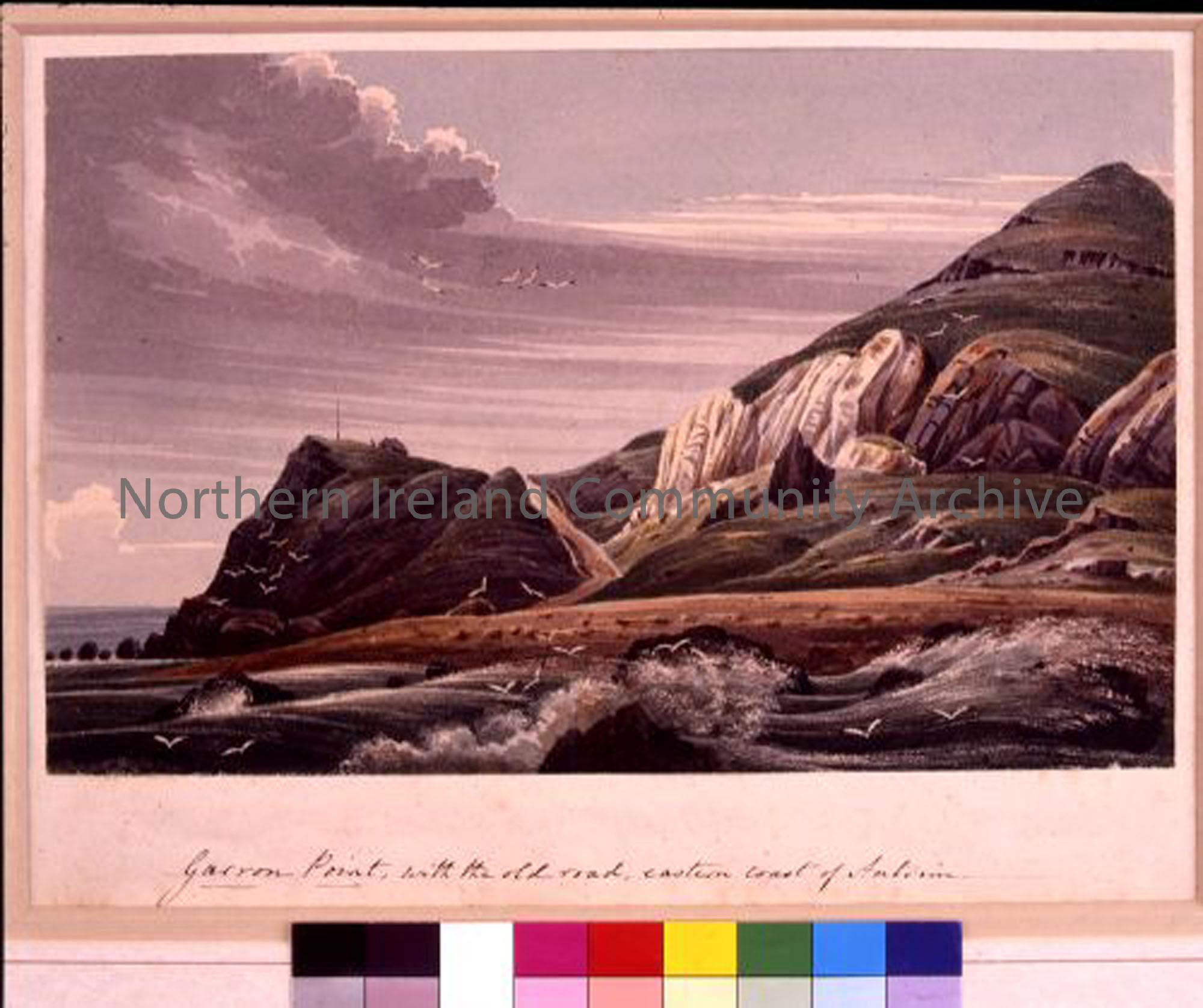 Garron Point, with the old road, eastern coast of Antrim. Watercolour by Andrew Nicholl.   (3568)