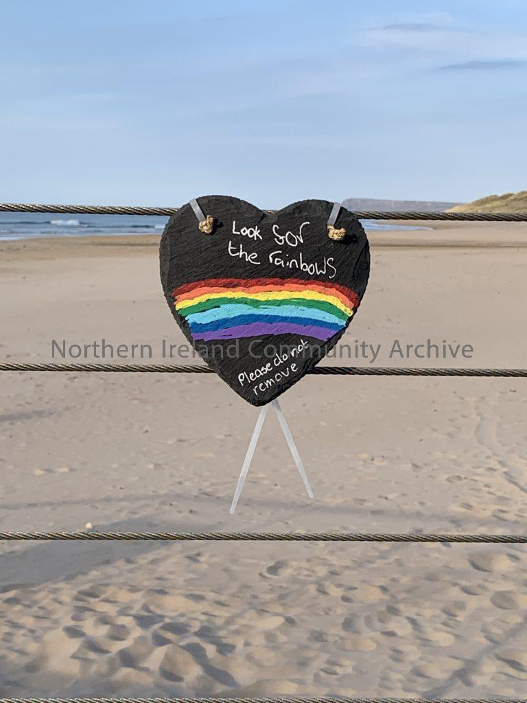 Portrush – Look for rainbows sign at East Strand
