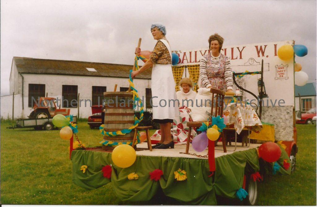 Members of Ballykelly Women's Institute on their float as part of the City of Derry Young Farmer's Club 60th celebrations in July 1989.