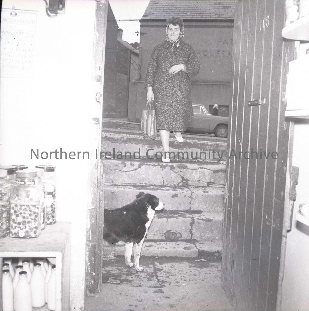The 'Wee Shop' down the steps, Limavady, Feb 1963