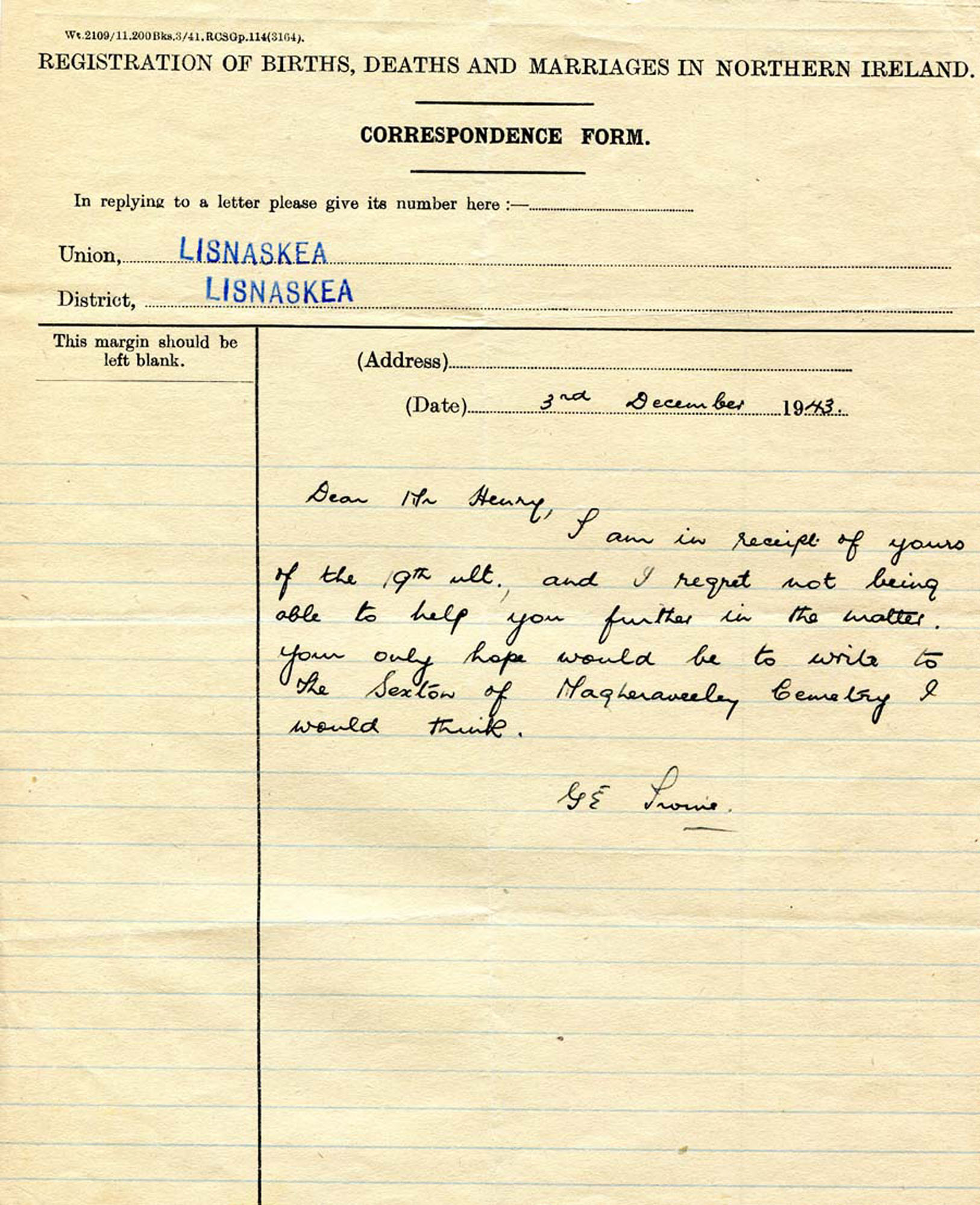 Letter from G E Irvine 3 12 1943 – NI Archive